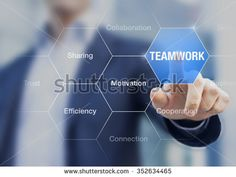Teamwork concept, consultant doing a presentation about the benefits of improving collaboration between employees in companies - stock photo