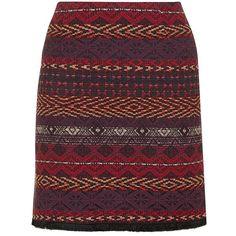 Black Aztec Jacquard Skirt (41 CAD) ❤ liked on Polyvore featuring skirts, mini…