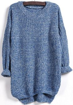 Blue Plain Round Neck Casual Pullover Sweater