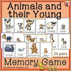 Animals and their Young - Memory Game for matching adult animals to the correct baby animal names. $