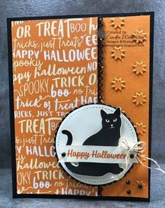 card critters cat cats Halloween SU Spooky Cat Bundle Stampin' Up! Halloween Cat, Holidays Halloween, Halloween 2017, Thanksgiving Cards, Holiday Cards, Cat Cards, Scrapbook Cards, Scrapbooking, Scrapbook Layouts