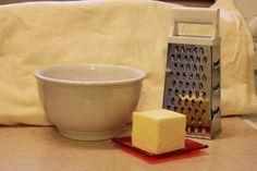 Getting ready to grate the frozen butter for my sugar free pie crust pastry
