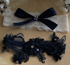 Garter set Navy Lace with rhinestones  Fit for a queen, this Royal Lace Collection Garter Set includes one keepsake garter and one tossing