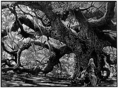 """Barry Moser  The Widow & the Tree   7.5"""" x 10"""" wood engraving"""