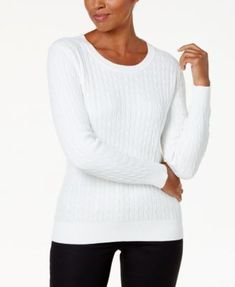 Karen Scott Cotton Cable-Knit Sweater, Created for Macy's - Tan/Beige XXL