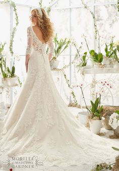 Wedding Dress 2812 Alencon Lace Appliques on Net Frosted with Delicate Beading and Scalloped Hemline