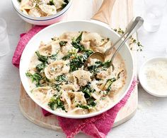 Tortellini with creamy bacon sauce