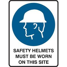 Head Protection Must be Worn Site Sign, Safety Helmet, Signage, Construction, Group, Helmets, Products, Building, Hard Hats