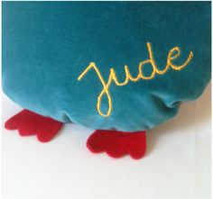 Owl cushion for baby Jude by Laura Jane Paris