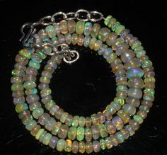 """59 Ctw 1Necklace 4to7mm 15"""" Beads Natural Genuine Ethiopian Welo Fire Opal 70767"""