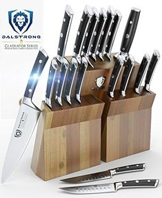 DALSTRONG Knife Set Block Gladiator Series Colossal Knife Set German HC Steel 18 Pc Walnut Stand *** Learn more by visiting the image link-affiliate link. Best Kitchen Knife Set, Best Kitchen Knives, Kitchen Gadgets, Kitchen Stuff, Kitchen Tools, Kitchen Ideas, Knife Block Set, Knife Sets, Gladiator Series