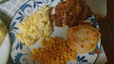 My cooking mashed patatoes corn mozarella butter biscuts, finishing touches of onion chive orange pork chives. My personal touch