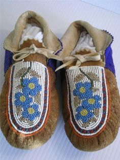 Antique Vintage Montana Canada CREE Indian Beaded Beaded Moccasins Pristine | eBay