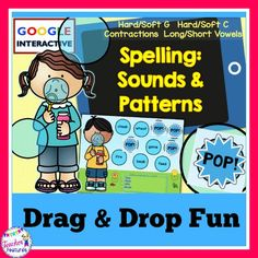 *Google Classroom* #tptdigital This no prep, interactive Google Slides pack focuses on common spelling patterns and sounds(Hard/Soft G; Hard/Soft C; Contractions; Long/Short Vowels).