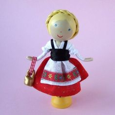 HEIDI Clothespin Doll with Tiny Cow Bell by WeeCuteTreasures