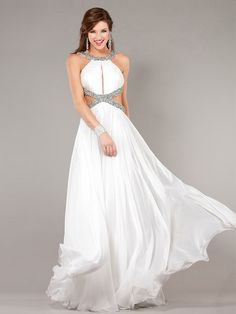A-line Straps Sleeveless Chiffon Prom Dresses/Evening Gowns With Beaded #BK252