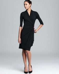 A Modern Classic: #KarenKane Faux Leather Patch Cascade Dress | @Sharan Sagoo's #LBD
