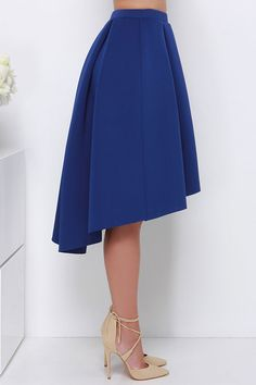 High Seas, Low Tide Royal Blue High-Low Padded Midi Skirt at Lulus.com!