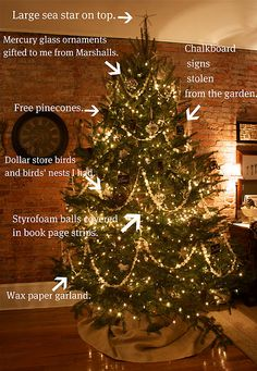 a creative tree with lot of homemade decorations