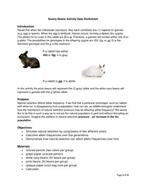Printables Natural Selection Worksheet worksheets and natural on pinterest lab worksheet bunny beans selection under pressure final