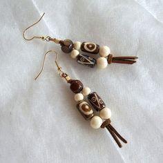 Ethnic inspired beaded dangle earrings bone and wood by Mouflon, €20.00