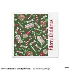 Shop Sweet Christmas Candy Pattern Napkins created by BlueRose_Design. Christmas Napkins, Christmas Candy, Holiday Treats, Holiday Decor, Cocktail Napkins, Vinyl Lettering, Paper Plates, Party Printables, Colorful Backgrounds
