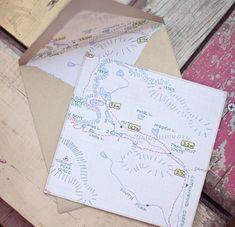 ein kleiner Routenplaner im Kuvert mit der Geburtstagskarte beilegen