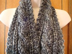 Cabled Scarf Neckwarmer Chunky Black and White Man by CherylsKnits, $30.00