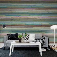 Painéis Fotográficos - Surfaces - Painel Fotográfico Wooden Slates, Colourful
