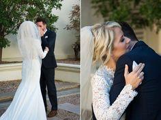 Emotional first look for their McCormick Ranch Golf Club Wedding