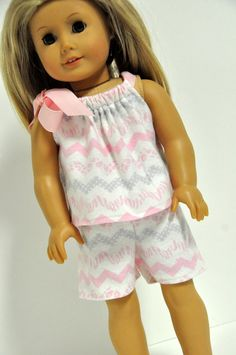 6c8a4a7284 American Girl Doll Clothes Pink and Gray Chevron Baby Doll Style Flannel  Pajamas PJ s 18 inch