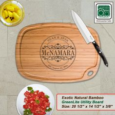 Personalized Extra Large Bamboo Cutting Board - Design 24