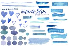 Watercolor Clip Art - Blue by Maria B. Paints on Creative Market