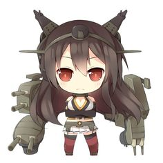 Anime picture 				1771x1771 with  		kantai collection 		nagato battleship 		saru (longbb) 		long hair 		single 		highres 		looking at viewer 		breasts 		brown hair 		simple background 		white 		large breasts 		cleavage 		chibi 		crossed arms 		girl 		thighhighs 		skirt 		gloves 		weapon