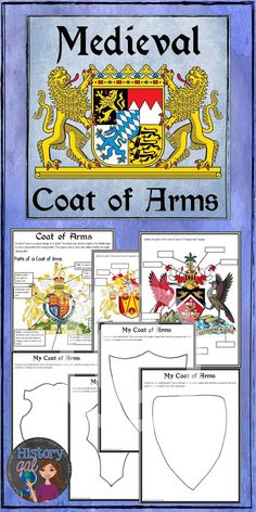 Teach your students about Medieval Coat of Arms with this activity Students will learn about the parts of a coat of arms and then label two different coat of arms The ac. Medieval Crafts, Medieval Art, Medieval Times, 6th Grade Social Studies, 6th Grade Art, Classical Education, Art Education, Teaching History, Teaching Art