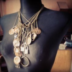 #handmade #oldstuff #necklace #rust, #tRUST #bottlecaps #locks #keys