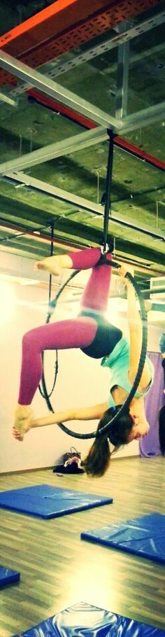 Aerial hoop love this pose cant wait to get back into top bar work