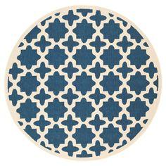 Safavieh Natalie Outdoor Rug - Navy (Blue) / Beige (