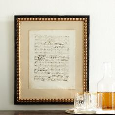 Framed 19th-Century Music Sheet   Wall Art