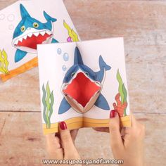 Spice up shark week with a shark pop up card that's really something extra! Paper Crafts Origami, Diy Crafts For Gifts, Paper Crafts For Kids, Origami Easy, Creative Crafts, Preschool Crafts, Craft Activities For Kids, Diy For Kids, Fun Crafts
