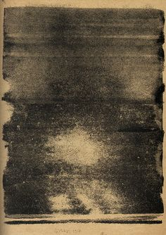 Gerhard Richter from Elbe, 31 monotypes, (1957) East German artist, rolled ink on A4 paper.