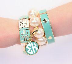 Personalized Greek Fornash Grecian Pearl Aqua Bangle