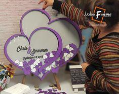 Personalized Wedding Anniversary Guest Book Alternative by DecoJubilee Wedding Book, Wedding Signs, Wedding Ideas, Grey Purple Wedding, Jubilee Line, Personalized Wedding Cake Toppers, Guest Book Sign, Wedding Guest Book Alternatives, Event Themes