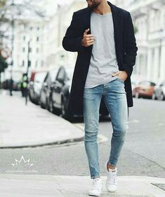 Skinny Jeans For Men Black Streetwear Hip Hop Stretch Hombre Slim Fit Fashion Biker Ankle Tight Mode Masculine, Mode Man, Casual Mode, Moda Blog, Herren Outfit, Mode Style, Men's Style, Guy Style, Swag Style