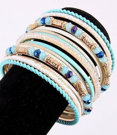 "Bangle  inside Dia: 2.6"" acrylic tiny bead metal white blue-green gold  lead & nickel compliant Glitzs. $20.25. Save 50%!"
