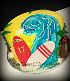 Surfing Birthday Cake Surf Wave Palm Tree Beach Surf Board Boy Cake Sand Lake House Cake by Shannon Luxury Wedding Cake, Wedding Cakes, Surf Wave, Sand Lake, Palm Trees Beach, House Cake, Surf Board, Cakes For Boys, Childrens Party