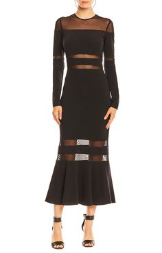 Long Sleeve Mesh Combo Dress | Nicole Miller