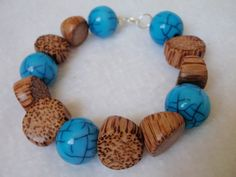 Turquoise Crackle Tropical Wood Bead Bracelet 7 by Spasojevich, $15.00