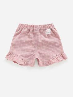 Toddler Girls Plaid Print Bow Front Shorts – Kidenhouse Belted Shorts, Boho Shorts, Casual Shorts, Toddler Girl Shorts, Toddler Girls, Dusty Purple, Purple Fashion, Rolled Hem, Vertical Stripes