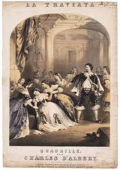 Music sheet cover. La Traviata. Printed by John Brandard (c.1860). V&A.  Scene from Verdi's popular 1852 opera La Traviata (The Co...